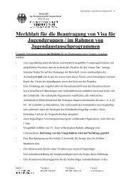 Merkblatt für die Beantragung von Visa für Jugendgruppen / im ...