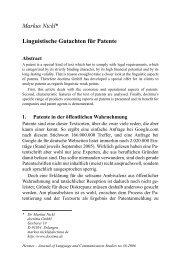 Markus Nickl* Linguistische Gutachten für Patente - Hermes ...