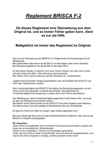 Reglement BRISCA F-2 - bvsrf2