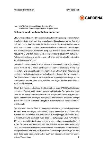 Pressetext als PDF herunterladen - GARDENA