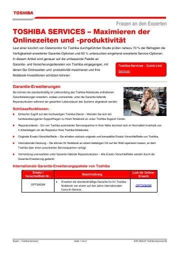 TOSHIBA SERVICES – Maximieren der Onlinezeiten und -produktivität