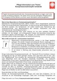 Pflege-Information zum Thema Kompressionsstrümpfe/-verbände