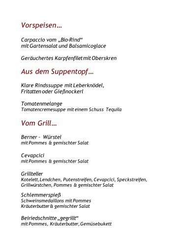 Vorspeisen… Aus dem Suppentopf… Vom Grill… - Desperados Bar