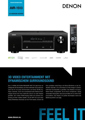 AVR-1513 3D VIDEO ENTERTAINMENT MIT DYNAMISCHEM ...