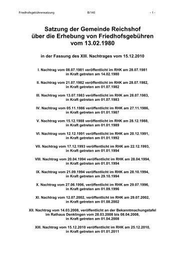Satzung der Gemeinde Reichshof über die Erhebung von ...