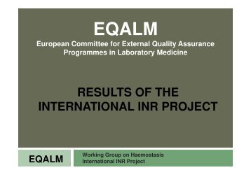 results of the results of the international inr project - CSCQ