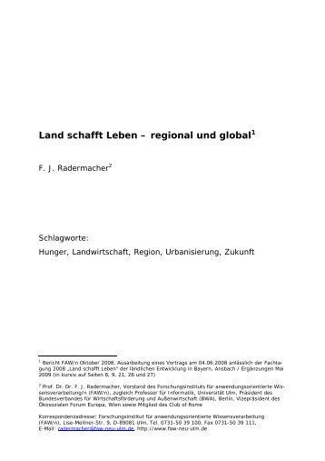 Land schafft Leben – regional und global1 - FAW/n