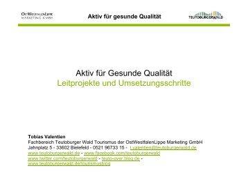 Aktiv für Gesunde Qualität Leitprojekte und ... - Teutoburger Wald