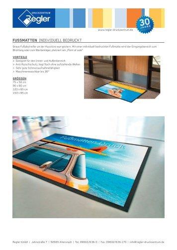 Fussmatten individuell bedruckt - Regler Druckzentrum