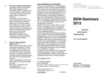 Seminarprogramm 2013 des Bildungs