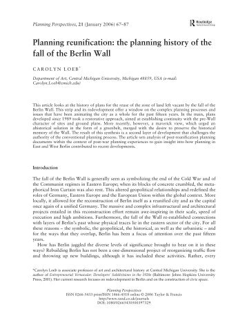 Planning reunification: the planning history of the fall of the Berlin Wall