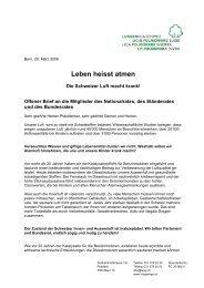 Offener Brief an Parlament und Bundesrat - Lungenliga