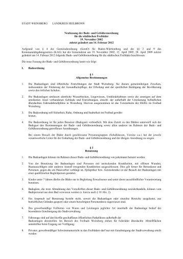 Bade- und Gebührenordnung für die städtischen ... - Stadt Weinsberg