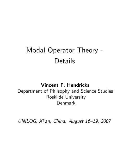 "Modal Operator Theory "" Details"