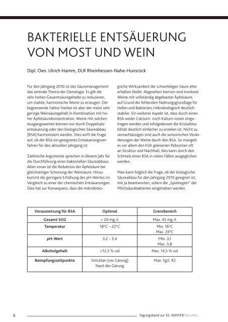Bakterielle Entsäuerung Von Most Und Wein Dlr