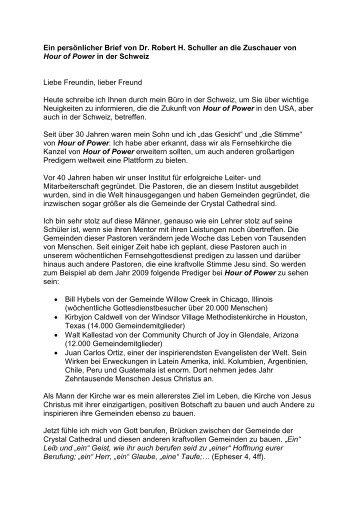 Ein persönlicher Brief von Dr. Robert H. Schuller an ... - Hour of Power