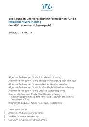 Bedingungen und Verbraucherinformationen für die ... - VPV