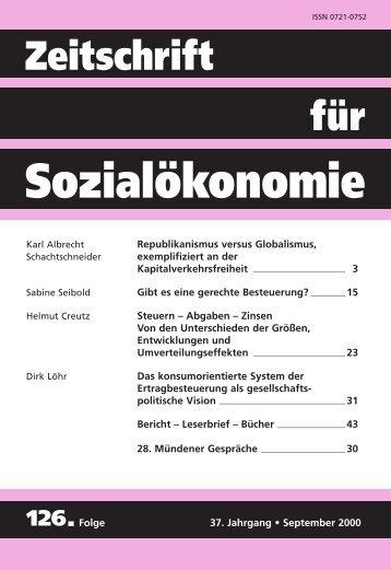 Steuern - Sozialabgaben - Zinsen - Zeitschrift für Sozialökonomie
