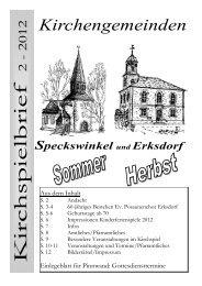 K irc h s p ie lb rie f - Kirchspiel Speckswinkel Erksdorf
