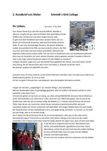 2. Rundbrief von Maike - Deutscher Verein vom Heiligen Lande