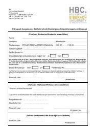 Antrag auf Ausgabe der Bachelorarbeit - Hochschule Biberach