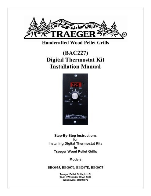 BAC227) Digital Thermostat Kit Installation Manual - Traeger