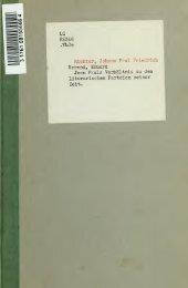 Jean Pauls Verhältnis zu den literarischen Parteien seiner Zeit