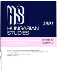 HUNGARIAN STUDIES 15. No. 2. (2001) - EPA