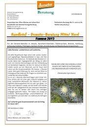 Beraterrundbrief Landwirtschaft Februar 2013 - Demeter