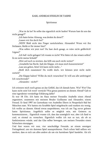 "KARL-ANDREAS STEHLIN DE TAISNE Spiritismus ""Was ... - Studies2"