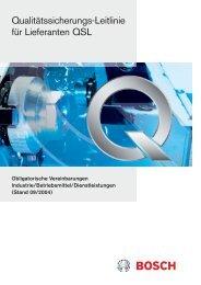 Qualitätssicherungs-Leitlinie für Lieferanten QSL - Bosch