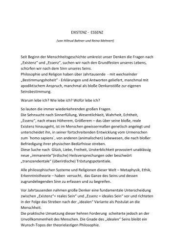 """""""Existenz"""" und """"Essenz"""" - Schreibglanz"""