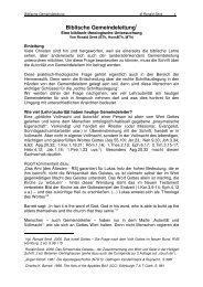 Gemeindeleitung - Biblisch-Evangelische Gemeinde OWL