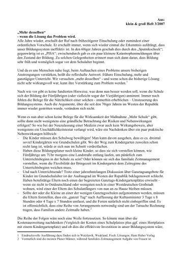 """Aus: klein & groß Heft 3/2007 """"Mehr desselben"""" - wenn die Lösung ..."""