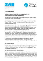Presseinfo Mai 08: Auftakt KlimaKultur - Stiftung Mercator
