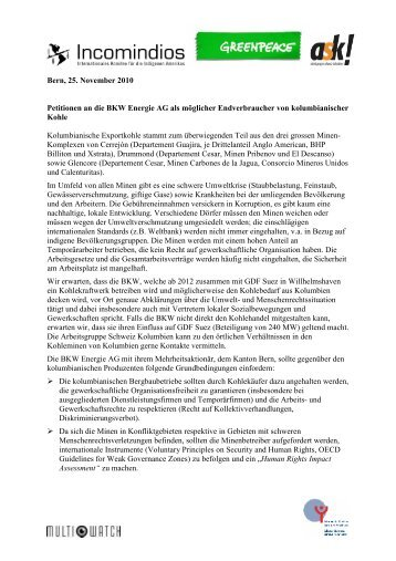 Petition - ask! Arbeitsgruppe Schweiz-Kolumbien