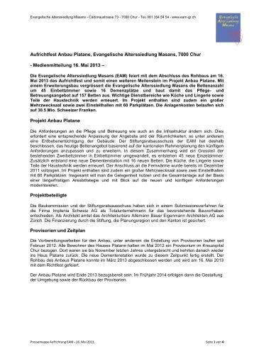 Medienmitteilung 16. Mai 2013 - Evangelische Alterssiedlung Masans