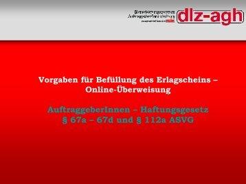 Vorgaben zur Erlagscheinbefüllung - Online-Überweisung