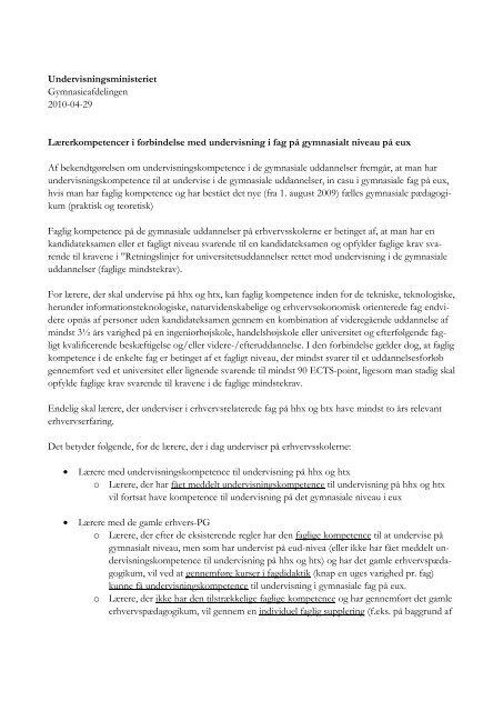 Læs Undervisningsministeriets skrivelse vedrørende ...