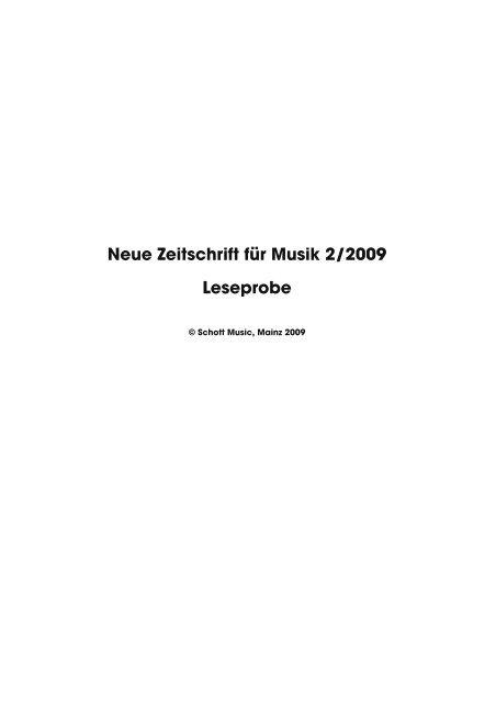 Leseprobe Neue Zeitschrift für Musik 2009/02 - Schott Music