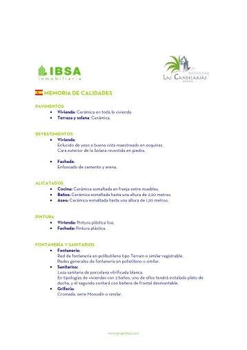 MEMORIA DE CALIDADES - Ibsa Inmobiliaria