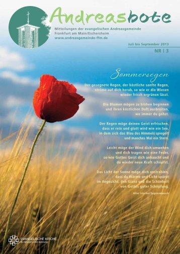 Ausgabe 3 / 2013 - Evangelische Andreasgemeinde Frankfurt
