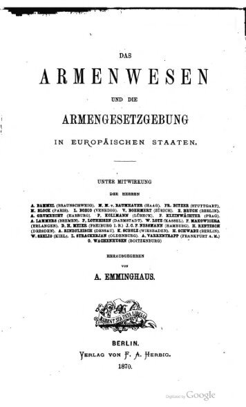 Arwed Emminghaus (Hg.): Das Armenwesen und die Gesetzgebung ...