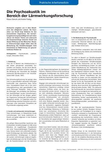 Die Psychoakustik im Bereich der Lärmwirkungsforschung