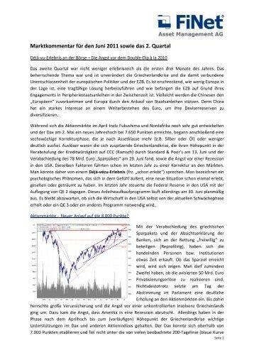 Marktkommentar für den Monat Junii 2011, von unserem ...