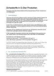 FS PFOS in G-Star-Produkten - Greenpeace