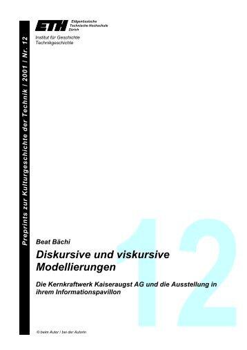 Diskursive und viskursive Modellierungen - Technikgeschichte der ...