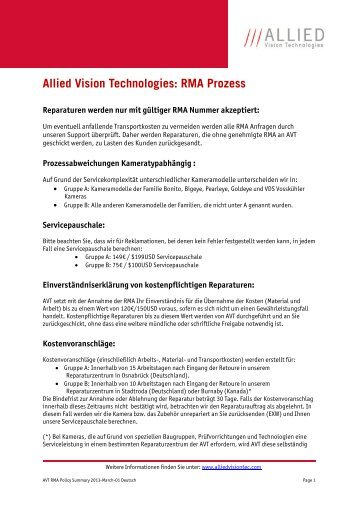 AVT Global Repair Policy - Allied Vision Technologies