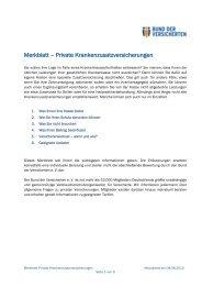 Merkblatt – Private Krankenzusatzversicherungen - Bund der ...