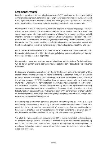 Medicinsk teknologivurdering af obstruktiv ... - Danske Regioner